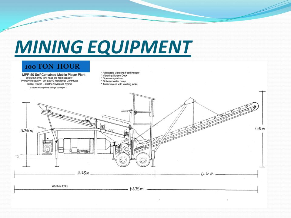 MINING EQUIPMENT 100 TON HOUR