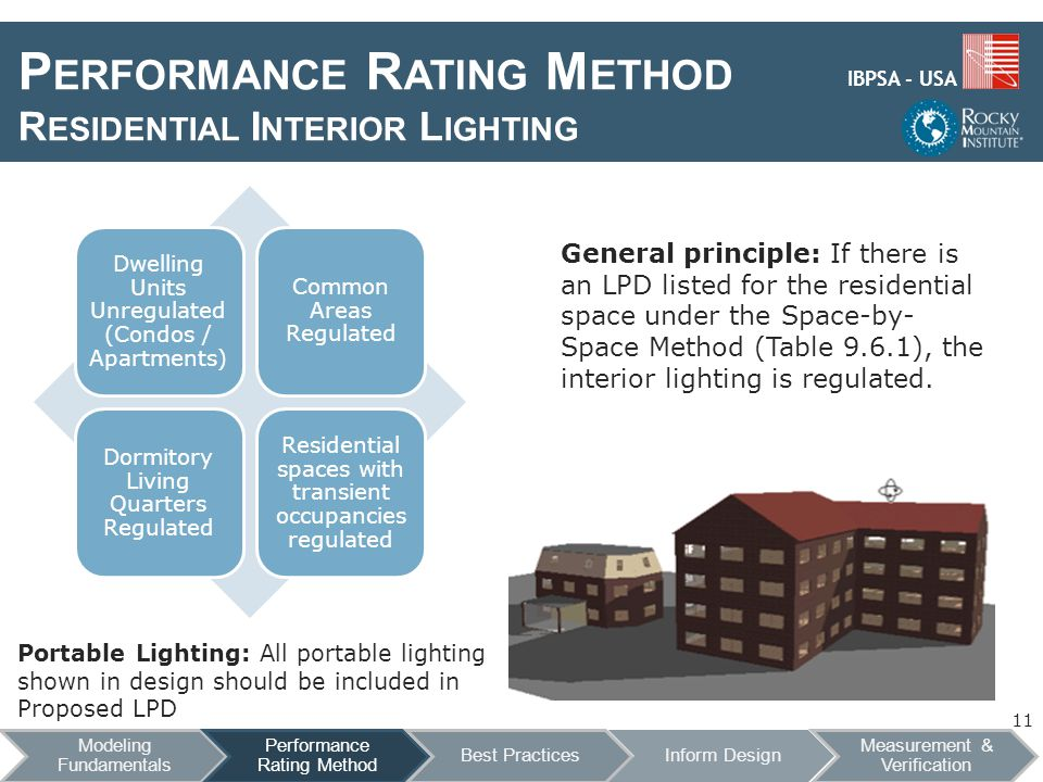 IBPSA - USA P ERFORMANCE R ATING M ETHOD R ESIDENTIAL I NTERIOR L IGHTING General principle: If there is an LPD listed for the residential space under the Space-by- Space Method (Table 9.6.1), the interior lighting is regulated.