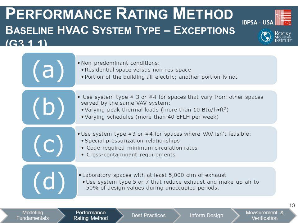 IBPSA - USA P ERFORMANCE R ATING M ETHOD B ASELINE HVAC S YSTEM T YPE – E XCEPTIONS (G3.1.1) 18