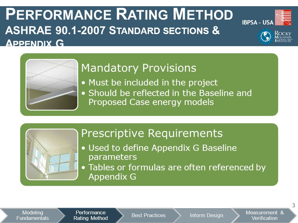 IBPSA - USA P ERFORMANCE R ATING M ETHOD ASHRAE 90.1-2007 S TANDARD SECTIONS & A PPENDIX G 3