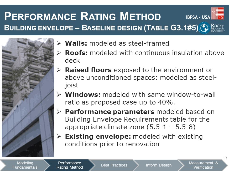 IBPSA - USA P ERFORMANCE R ATING M ETHOD B UILDING ENVELOPE – B ASELINE DESIGN (T ABLE G3.1#5) Walls: modeled as steel-framed Roofs: modeled with continuous insulation above deck Raised floors exposed to the environment or above unconditioned spaces: modeled as steel- joist Windows: modeled with same window-to-wall ratio as proposed case up to 40%.
