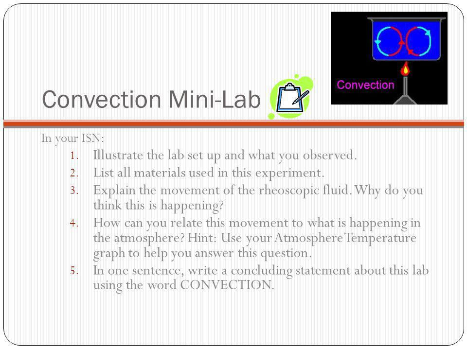 Convection Currents Lab Convection Mini Lab in Your