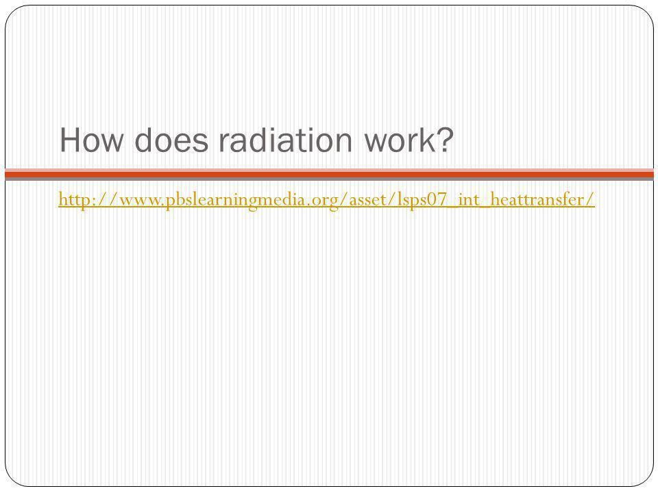 How does radiation work? http://www.pbslearningmedia.org/asset/lsps07_int_heattransfer/