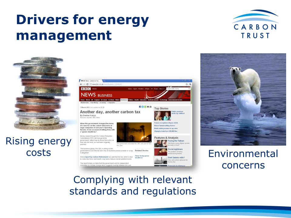 Drivers for energy management Rising energy costs Complying with relevant standards and regulations Environmental concerns