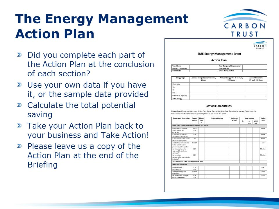 The Energy Management Action Plan Did you complete each part of the Action Plan at the conclusion of each section.