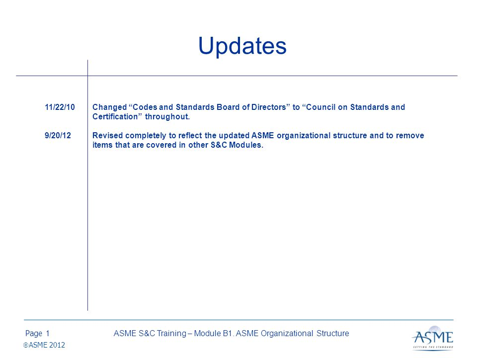 Page ASME 2012 Updates ASME S&C Training – Module B1. ASME Organizational Structure1 11/22/10Changed Codes and Standards Board of Directors to Council