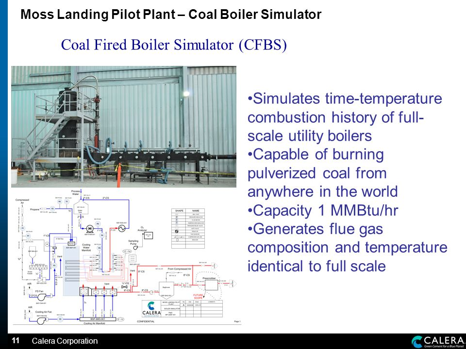 11 Moss Landing Pilot Plant – Coal Boiler Simulator Coal Fired Boiler Simulator (CFBS) Simulates time-temperature combustion history of full- scale utility boilers Capable of burning pulverized coal from anywhere in the world Capacity 1 MMBtu/hr Generates flue gas composition and temperature identical to full scale Calera Corporation