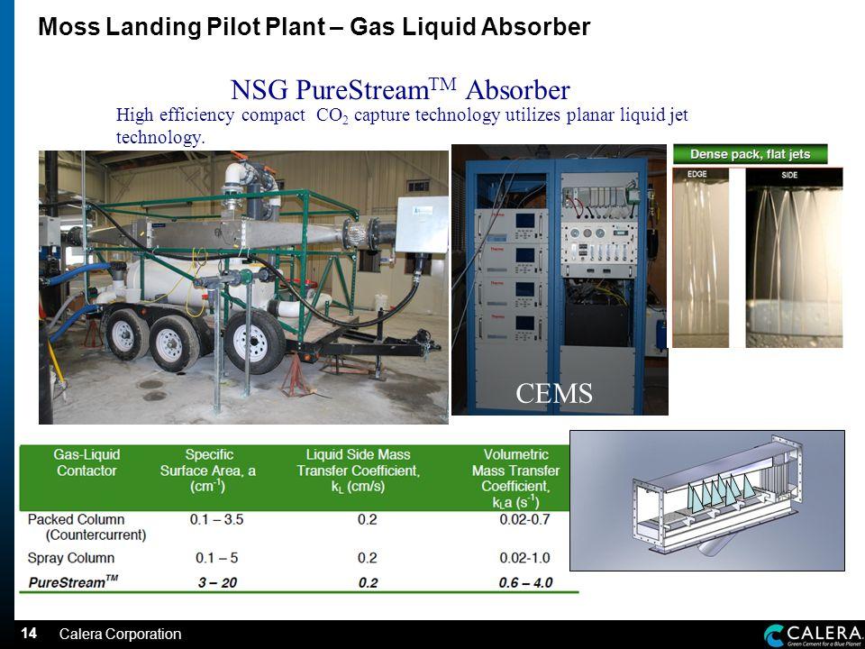14 Moss Landing Pilot Plant – Gas Liquid Absorber NSG PureStream TM Absorber High efficiency compact CO 2 capture technology utilizes planar liquid jet technology.