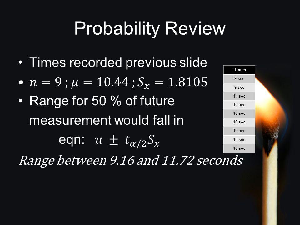 Probability Review Times 9 sec 11 sec 15 sec 10 sec
