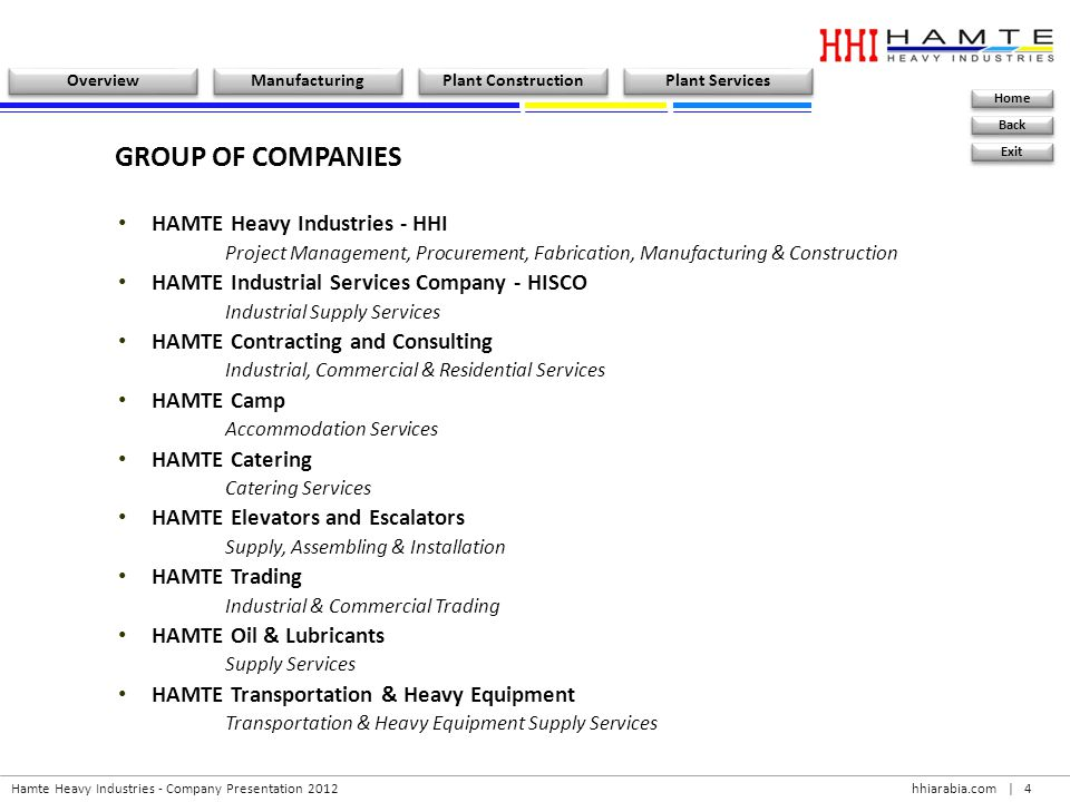 hhiarabia.com   25 Hamte Heavy Industries - Company Presentation 2012 Overview Manufacturing Plant Construction Plant Services Home Back Exit Ahmed Hussein A.