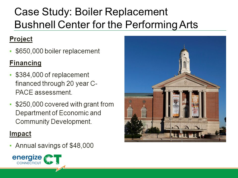 Case Study: Boiler Replacement Bushnell Center for the Performing Arts Hartford West Hartford Bridgeport Norwalk Simsbury Stamford Stratford Southbury Project $650,000 boiler replacement Financing $384,000 of replacement financed through 20 year C- PACE assessment.