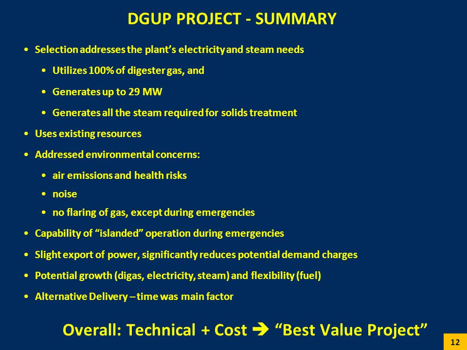 DGUP PROJECT - SUMMARY Selection addresses the plants electricity and steam needs Utilizes 100% of digester gas, and Generates up to 29 MW Generates a