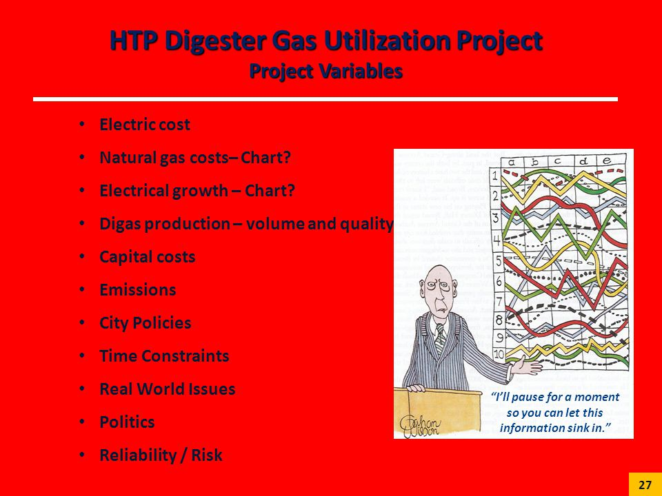 HTP Digester Gas Utilization Project Project Variables Electric cost Natural gas costs– Chart? Electrical growth – Chart? Digas production – volume an