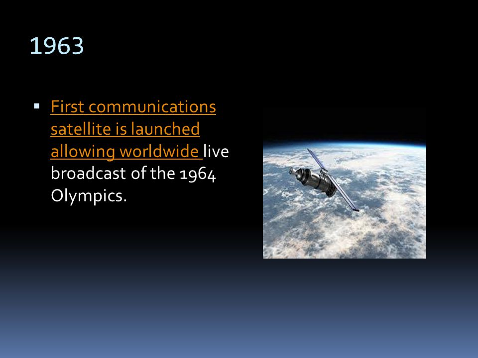 1963 First communications satellite is launched allowing worldwide live broadcast of the 1964 Olympics. First communications satellite is launched all