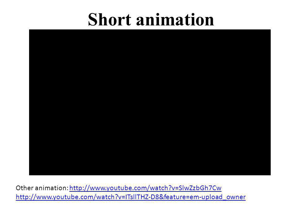 Short animation Other animation: http://www.youtube.com/watch?v=SlwZzbGh7Cw http://www.youtube.com/watch?v=ITsllTHZ-D8&feature=em-upload_ownerhttp://w