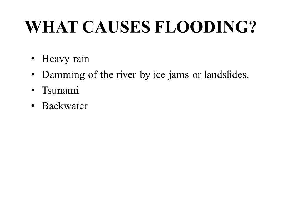 WHAT CAUSES FLOODING? Heavy rain Damming of the river by ice jams or landslides. Tsunami Backwater