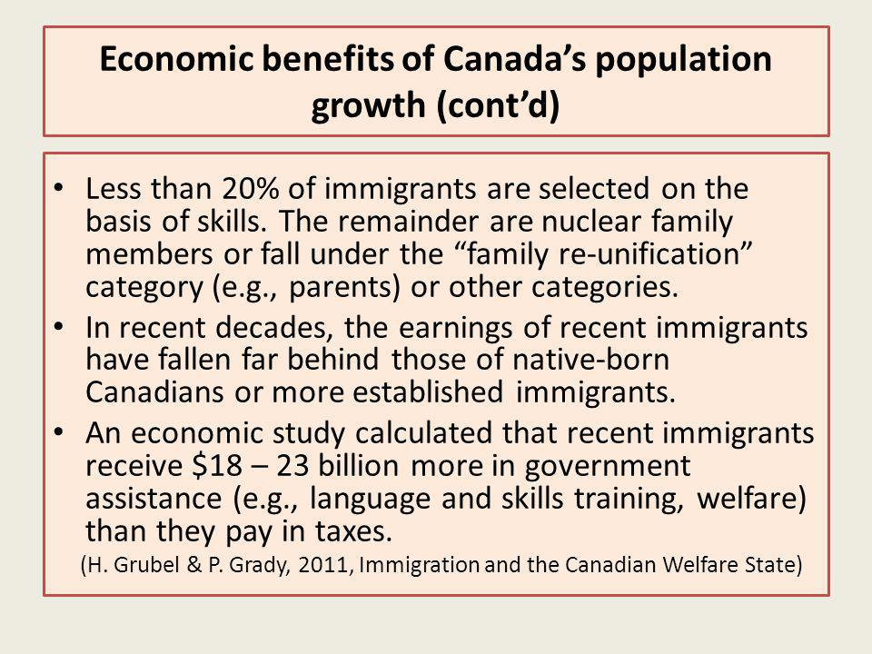 Economic benefits of Canadas population growth (contd) Less than 20% of immigrants are selected on the basis of skills.