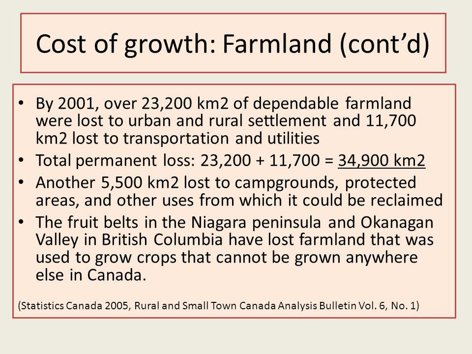 Cost of growth: Farmland (contd) By 2001, over 23,200 km2 of dependable farmland were lost to urban and rural settlement and 11,700 km2 lost to transportation and utilities Total permanent loss: 23,200 + 11,700 = 34,900 km2 Another 5,500 km2 lost to campgrounds, protected areas, and other uses from which it could be reclaimed The fruit belts in the Niagara peninsula and Okanagan Valley in British Columbia have lost farmland that was used to grow crops that cannot be grown anywhere else in Canada.