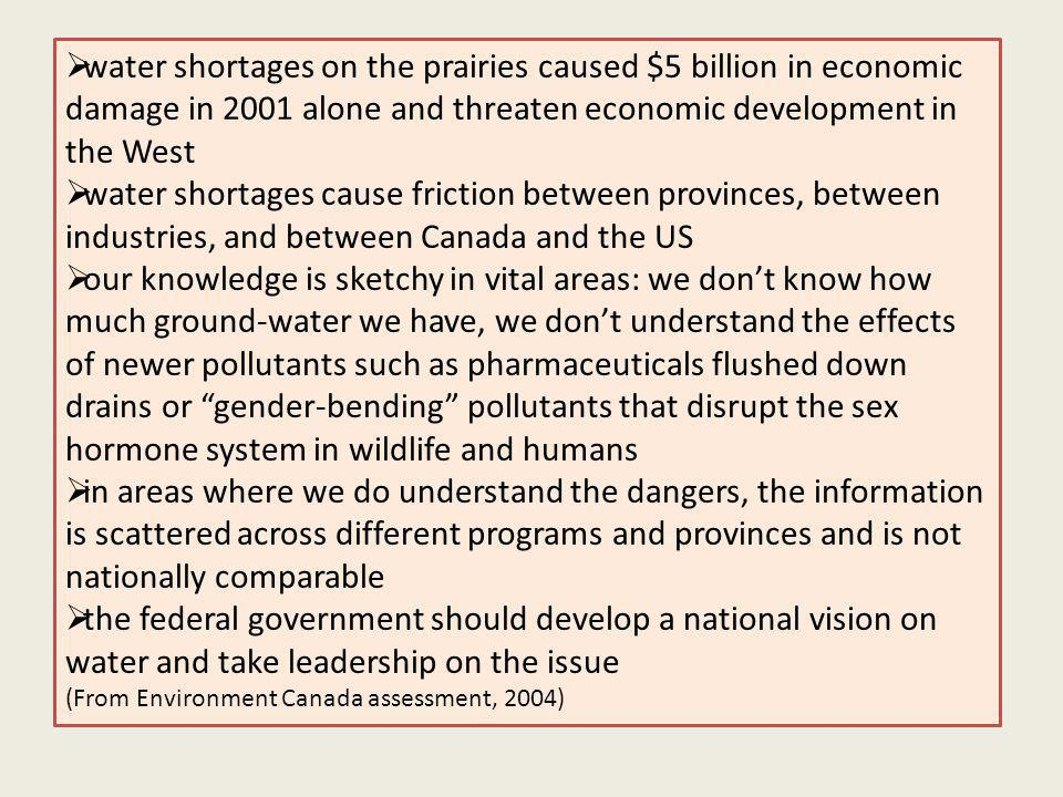 water shortages on the prairies caused $5 billion in economic damage in 2001 alone and threaten economic development in the West water shortages cause friction between provinces, between industries, and between Canada and the US our knowledge is sketchy in vital areas: we dont know how much ground-water we have, we dont understand the effects of newer pollutants such as pharmaceuticals flushed down drains or gender-bending pollutants that disrupt the sex hormone system in wildlife and humans in areas where we do understand the dangers, the information is scattered across different programs and provinces and is not nationally comparable the federal government should develop a national vision on water and take leadership on the issue (From Environment Canada assessment, 2004)