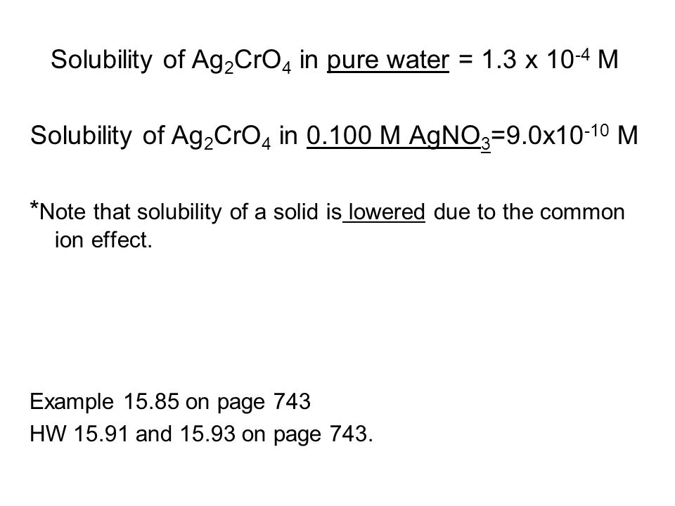 Solubility of Ag 2 CrO 4 in pure water = 1.3 x 10 -4 M Solubility of Ag 2 CrO 4 in 0.100 M AgNO 3 =9.0x10 -10 M * Note that solubility of a solid is l