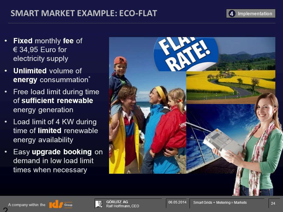 24 GÖRLITZ AG Ralf Hoffmann, CEO A company within the 06.05.2014 Smart Grids + Metering = Markets 24 SMART MARKET EXAMPLE: ECO-FLAT Fixed monthly fee