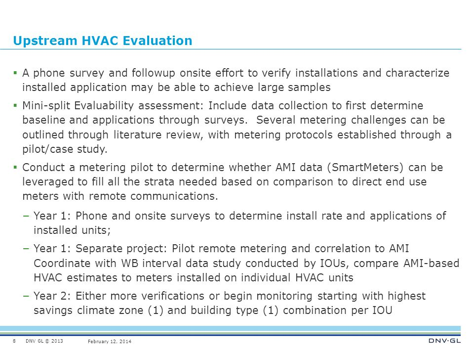 DNV GL © 2013 February 12, 2014 Quality Installation Evaluation Challenge of metering and measuring a sufficient number of non-participants to compare both QI and To Code participants against Focus on participants in the two 2013-14 programs (QI and To Code) since the budget is $500k.