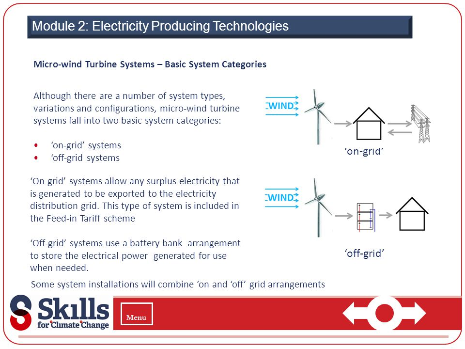 Module 2: Electricity Producing Technologies Micro-wind Turbine Systems – Basic System Categories Although there are a number of system types, variati