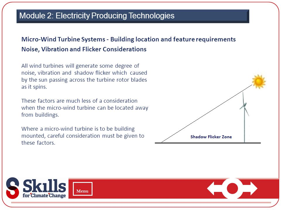 Module 2: Electricity Producing Technologies Micro-Wind Turbine Systems - Building location and feature requirements Noise, Vibration and Flicker Cons