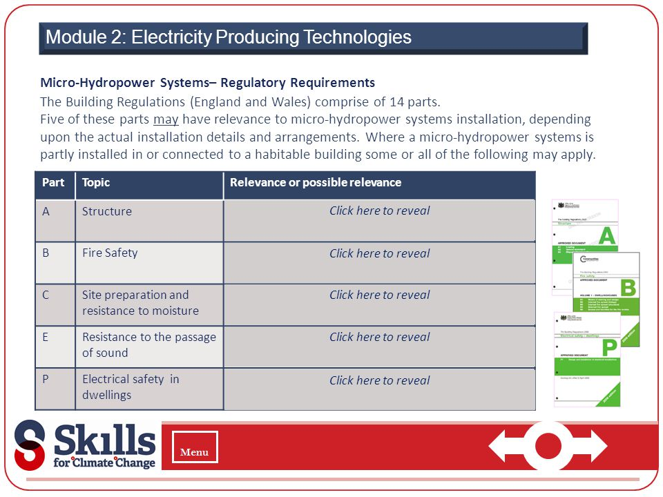 Module 2: Electricity Producing Technologies Micro-Hydropower Systems– Regulatory Requirements The Building Regulations (England and Wales) comprise o