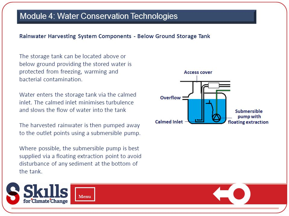 Module 4: Water Conservation Technologies Rainwater Harvesting System Components - Below Ground Storage Tank The storage tank can be located above or