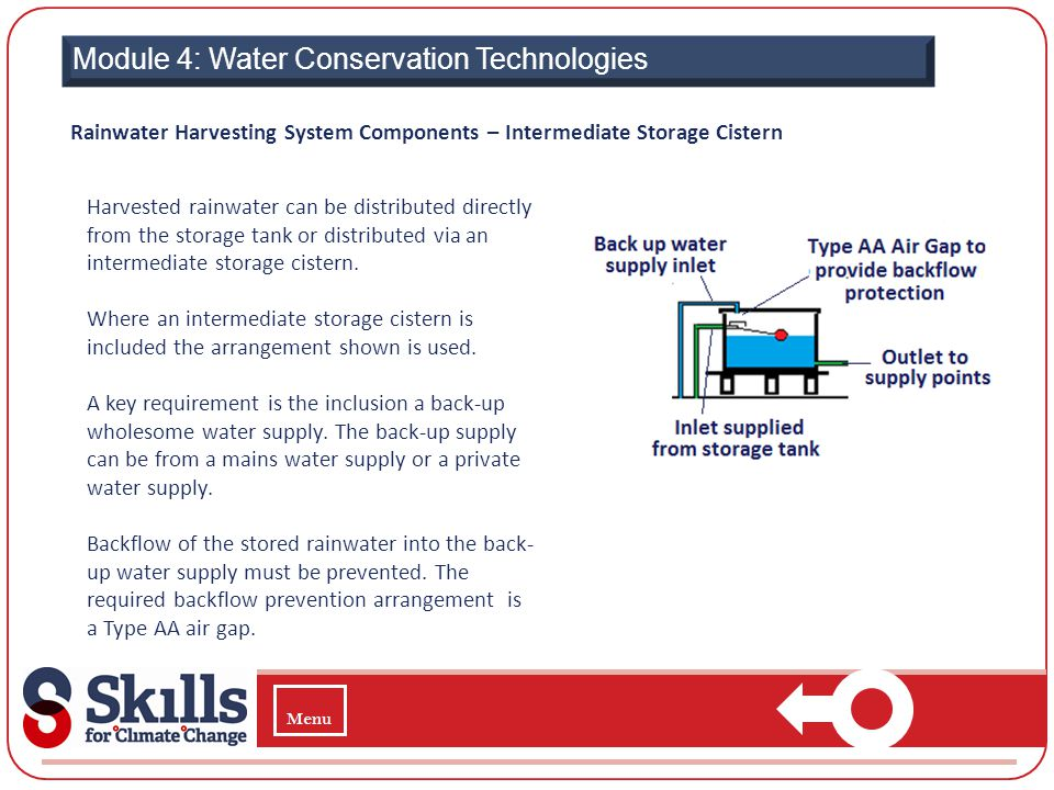 Module 4: Water Conservation Technologies Rainwater Harvesting System Components – Intermediate Storage Cistern Harvested rainwater can be distributed
