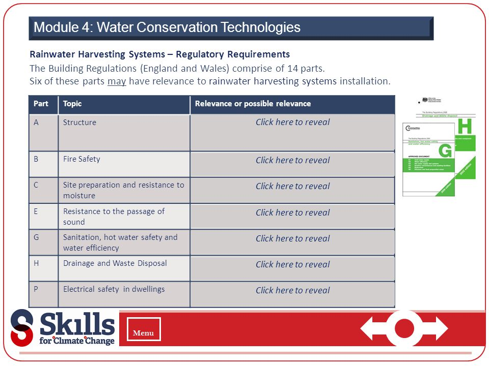 Module 4: Water Conservation Technologies Rainwater Harvesting Systems – Regulatory Requirements The Building Regulations (England and Wales) comprise