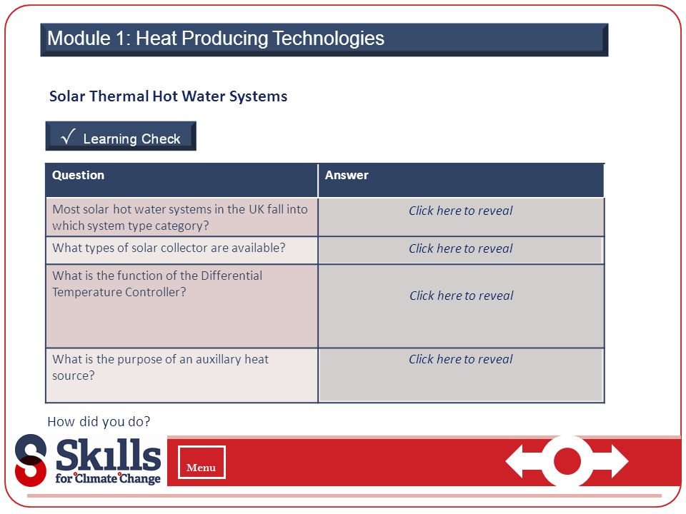 Module 1: Heat Producing Technologies Solar Thermal Hot Water Systems How did you do? QuestionAnswer Most solar hot water systems in the UK fall into