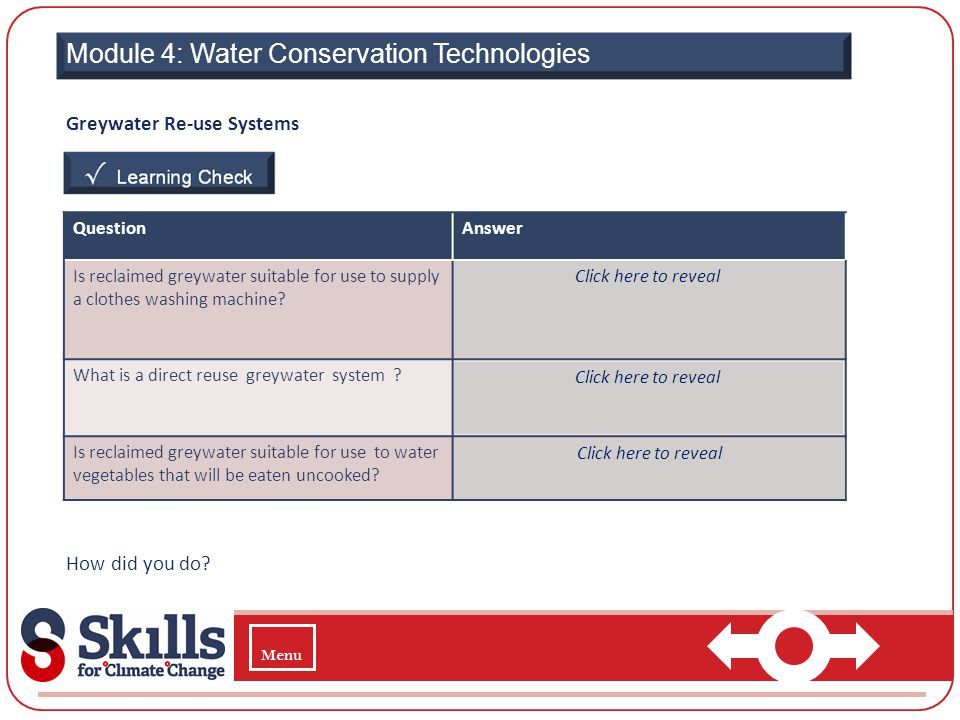 Module 4: Water Conservation Technologies Greywater Re-use Systems How did you do? QuestionAnswer Is reclaimed greywater suitable for use to supply a