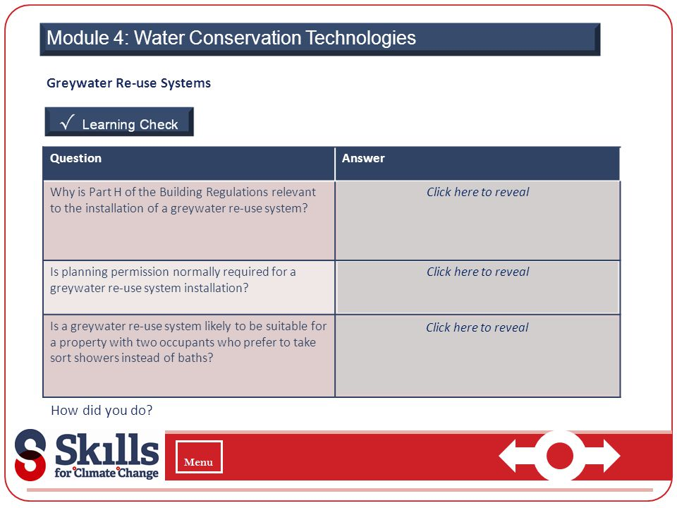 Module 4: Water Conservation Technologies Greywater Re-use Systems How did you do? QuestionAnswer Why is Part H of the Building Regulations relevant t