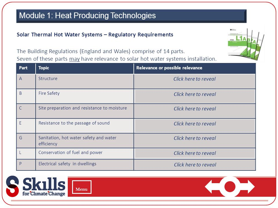 Module 1: Heat Producing Technologies Solar Thermal Hot Water Systems – Regulatory Requirements The Building Regulations (England and Wales) comprise