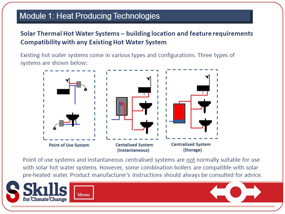 Point of use systems and instantaneous centralised systems are not normally suitable for use with solar hot water systems. However, some combination b