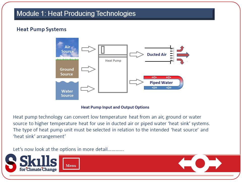 Module 1: Heat Producing Technologies Heat Pump Systems Heat pump technology can convert low temperature heat from an air, ground or water source to h