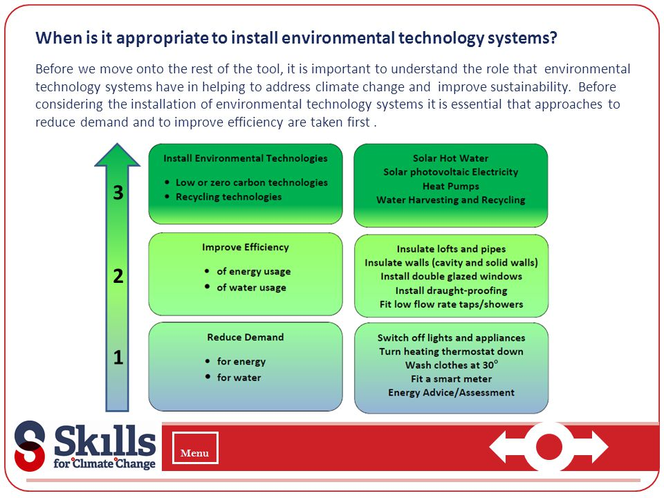 When is it appropriate to install environmental technology systems? Before we move onto the rest of the tool, it is important to understand the role t