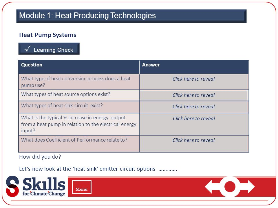 Module 1: Heat Producing Technologies Heat Pump Systems How did you do? Lets now look at the heat sink emitter circuit options …………. QuestionAnswer Wh