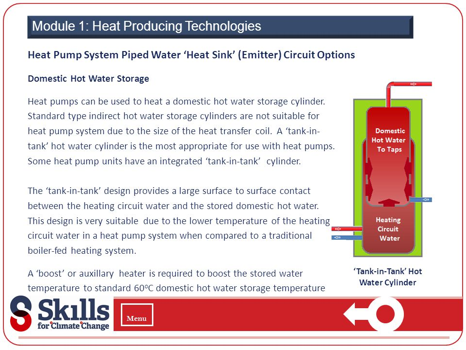 Module 1: Heat Producing Technologies Domestic Hot Water Storage Heat pumps can be used to heat a domestic hot water storage cylinder. Standard type i