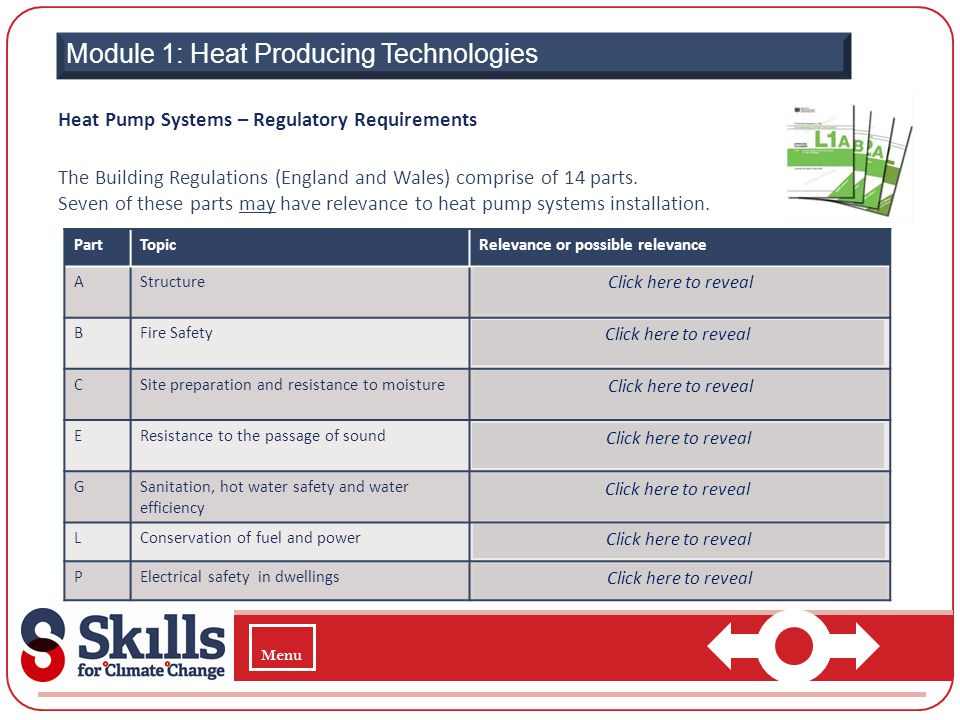 Module 1: Heat Producing Technologies Heat Pump Systems – Regulatory Requirements The Building Regulations (England and Wales) comprise of 14 parts. S