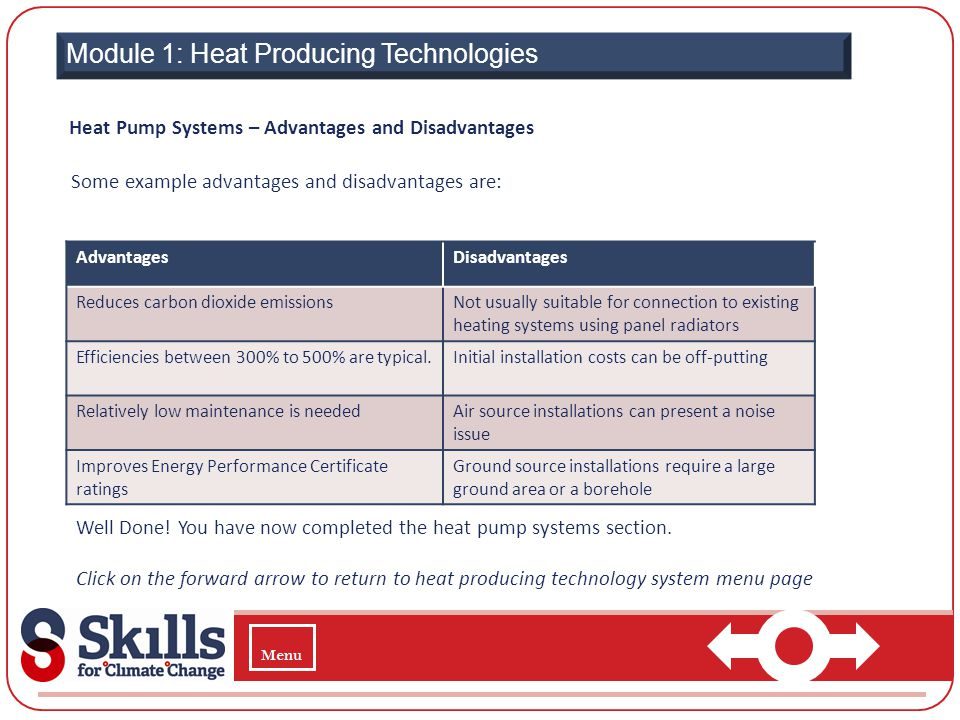 Module 1: Heat Producing Technologies Heat Pump Systems – Advantages and Disadvantages Some example advantages and disadvantages are: AdvantagesDisadv