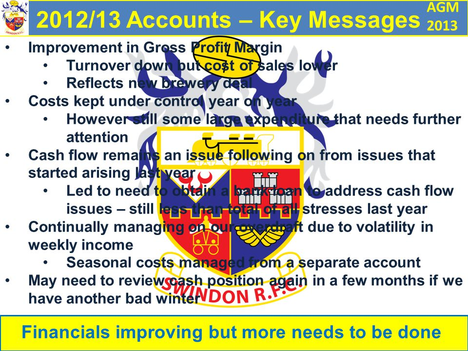 AGM 2013 2012/13 Accounts – Key Messages Financials improving but more needs to be done Improvement in Gross Profit Margin Turnover down but cost of sales lower Reflects new brewery deal Costs kept under control year on year However still some large expenditure that needs further attention Cash flow remains an issue following on from issues that started arising last year Led to need to obtain a bank loan to address cash flow issues – still less than total of all stresses last year Continually managing on our overdraft due to volatility in weekly income Seasonal costs managed from a separate account May need to review cash position again in a few months if we have another bad winter