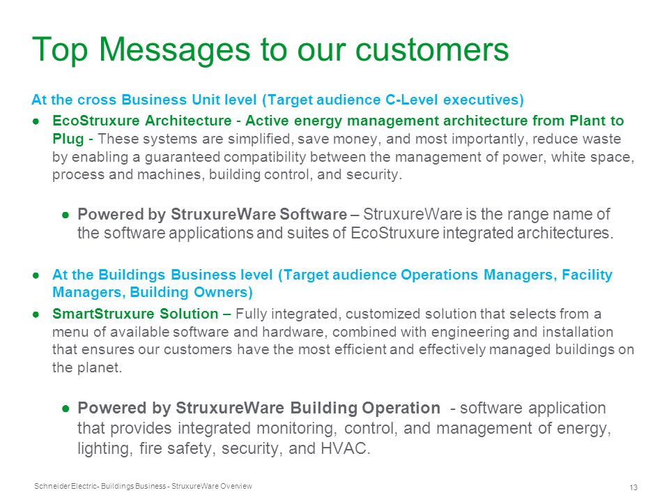 Schneider Electric 13 - Buildings Business - StruxureWare Overview Top Messages to our customers At the cross Business Unit level (Target audience C-L