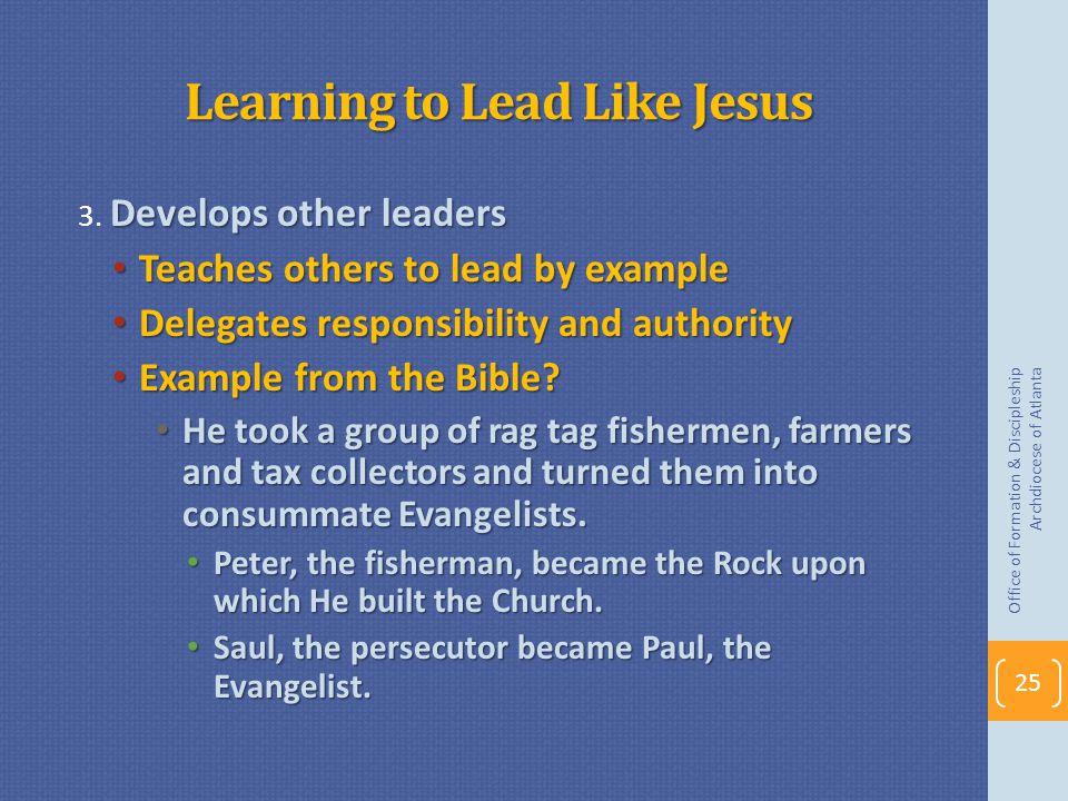 Learning to Lead Like Jesus Develops other leaders 3.