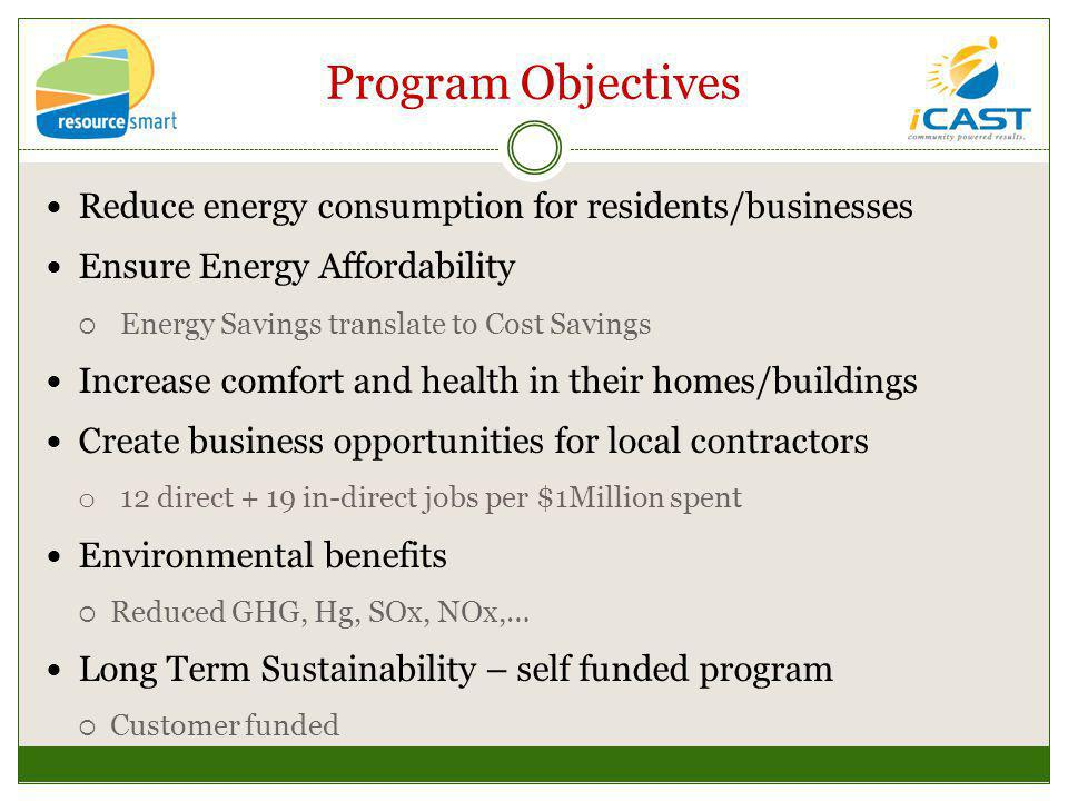 Program Objectives Reduce energy consumption for residents/businesses Ensure Energy Affordability Energy Savings translate to Cost Savings Increase comfort and health in their homes/buildings Create business opportunities for local contractors o 12 direct + 19 in-direct jobs per $1Million spent Environmental benefits Reduced GHG, Hg, SOx, NOx,… Long Term Sustainability – self funded program Customer funded