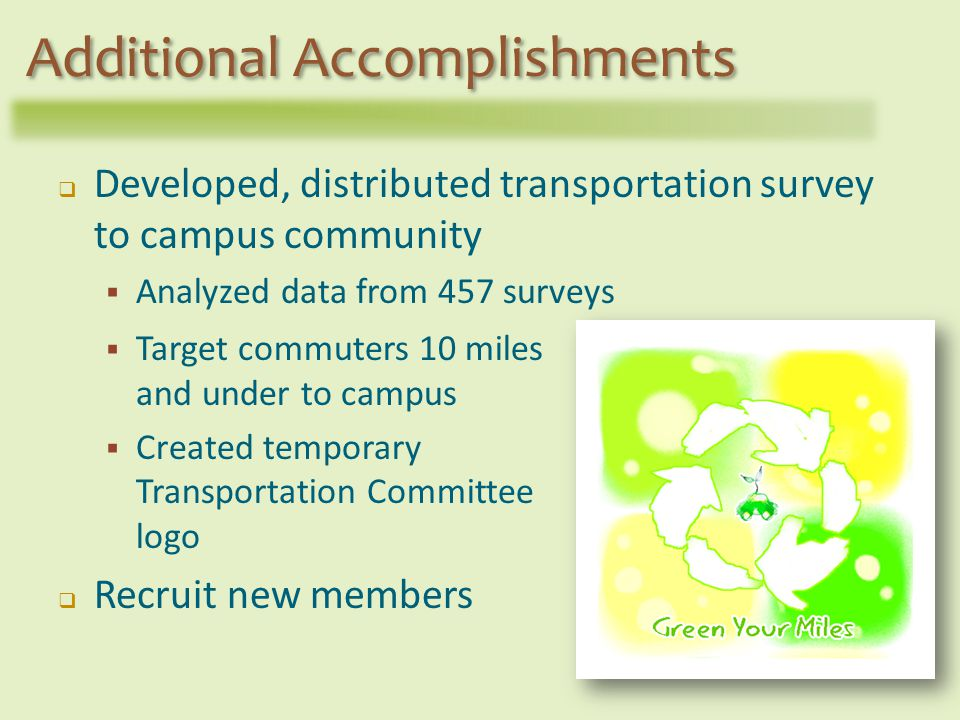 Target commuters 10 miles and under to campus Created temporary Transportation Committee logo Recruit new members Additional Accomplishments Developed, distributed transportation survey to campus community Analyzed data from 457 surveys