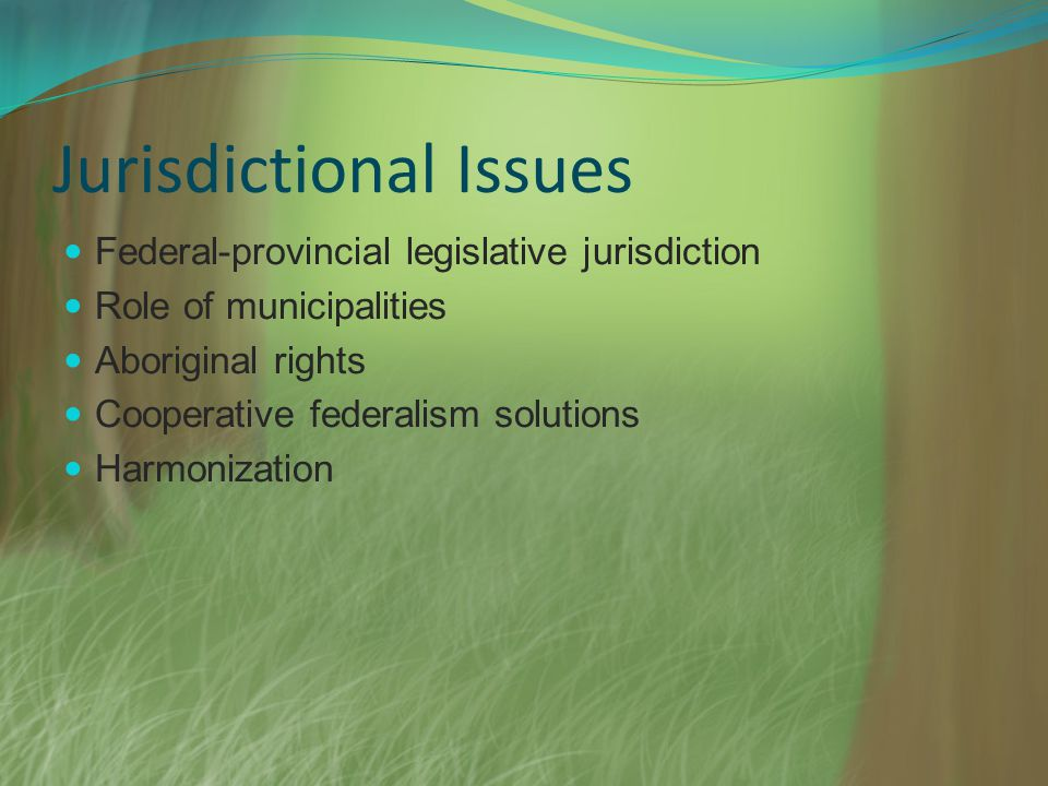 Jurisdictional Issues Federal-provincial legislative jurisdiction Role of municipalities Aboriginal rights Cooperative federalism solutions Harmonizat