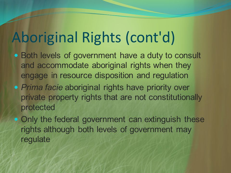 Aboriginal Rights (cont'd) Both levels of government have a duty to consult and accommodate aboriginal rights when they engage in resource disposition